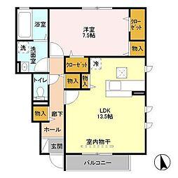 長野県須坂市墨坂2丁目の賃貸アパートの間取り
