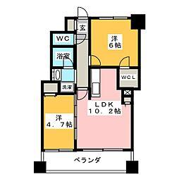 エミリブ東長崎 10階2LDKの間取り