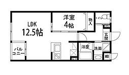 ゾンネモント子平町 5階1LDKの間取り