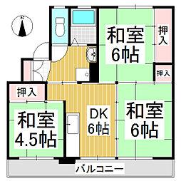 ビレッジハウス八幡 1号棟[3階]の間取り