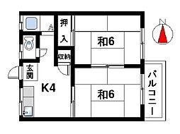 奈良県奈良市陰陽町の賃貸アパートの間取り