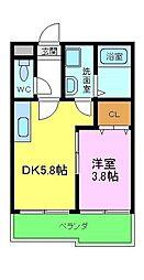 南海高野線 狭山駅 徒歩2分の賃貸アパート 2階1DKの間取り