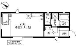 小田急小田原線 町田駅 徒歩9分の賃貸アパート 2階1Kの間取り