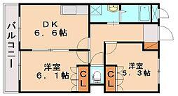 福岡県飯塚市楽市の賃貸アパートの間取り