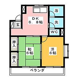 ハイツ旭[3階]の間取り