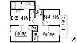 グランビューA棟[2階]の間取り