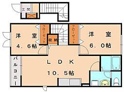 福岡県宗像市土穴2の賃貸アパートの間取り