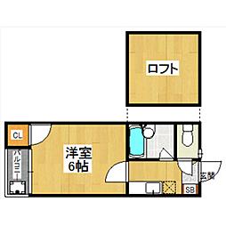 福岡県福岡市早良区高取1丁目の賃貸アパートの間取り