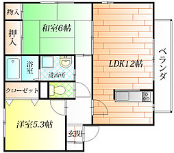 ヴィラパークA棟[2階]の間取り