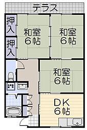 塚本ハイツ[F号室]の間取り
