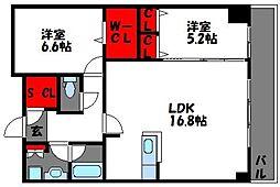 福岡県福岡市東区香椎照葉4丁目の賃貸マンションの間取り