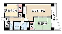 愛知県名古屋市天白区元八事1丁目の賃貸マンションの間取り