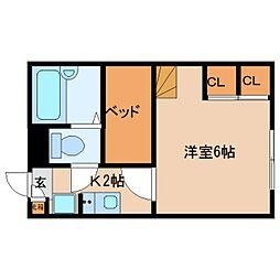 近鉄京都線 大和西大寺駅 バス14分 平城中山北口下車 徒歩5分の賃貸マンション 2階1Kの間取り