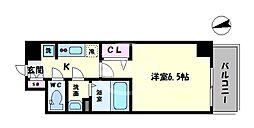 ララプレイス天王寺シエロ 7階1Kの間取り