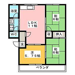 ウエストリバーマンション[1階]の間取り