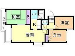 北海道札幌市東区北三十七条東12丁目の賃貸マンションの間取り
