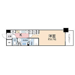 ザ・パークハビオ堂島 9階1Kの間取り