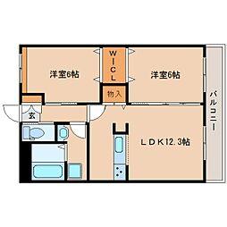 近鉄橿原線 田原本駅 徒歩29分の賃貸マンション 1階2LDKの間取り
