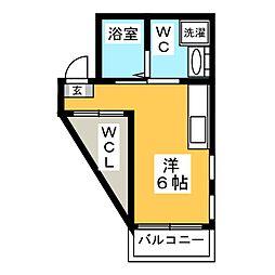ヴェスパーマティーニ亀有 4階ワンルームの間取り