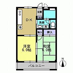 サニーコート田中 3階2DKの間取り
