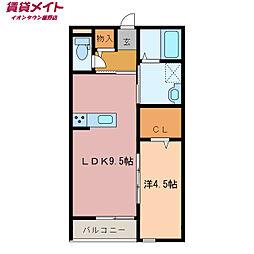 Casa anello 1階1LDKの間取り
