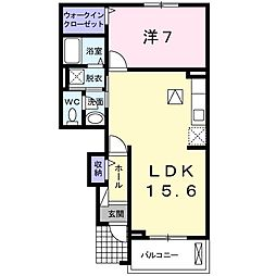 JR阪和線 和泉砂川駅 徒歩12分の賃貸アパート 1階1LDKの間取り