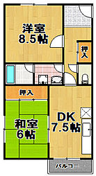 マンション第2梅香[3階]の間取り