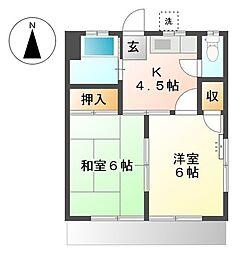 横浜市営地下鉄ブルーライン 三ツ沢下町駅 徒歩9分の賃貸アパート 1階2Kの間取り