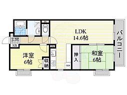 JR東海道・山陽本線 千里丘駅 徒歩9分の賃貸マンション 3階2LDKの間取り