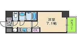 プレサンス京町堀 8階1Kの間取り
