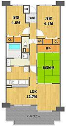 白鷹香枦園マンション[1階]の間取り