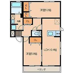 サンハイツA・B・C[2階]の間取り