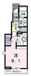 京阪本線 萱島駅 徒歩8分の賃貸アパート 1階ワンルームの間取り
