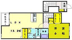 福岡県糟屋郡新宮町大字三代の賃貸アパートの間取り