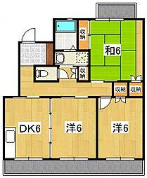 神奈川県小田原市別堀の賃貸マンションの間取り