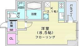 仙台市営南北線 仙台駅 徒歩12分の賃貸マンション 5階ワンルームの間取り