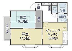 埼玉県草加市弁天5丁目の賃貸アパートの間取り