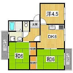 エトワール安朱[2階]の間取り