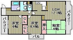 ライオンズマンション泉南新家[5F号室]の間取り