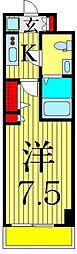 京成本線 お花茶屋駅 徒歩9分の賃貸マンション 7階1Kの間取り