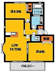 ソレジオタウン西川田D[2階]の間取り