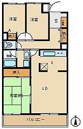 ネオハイツ森林公園A棟411号室[411号室]の間取り