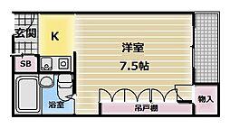 大阪府東大阪市長堂2の賃貸マンションの間取り
