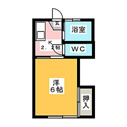 浜田ハイツ B棟[2階]の間取り