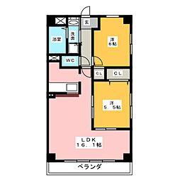 サニーシャトーII[4階]の間取り