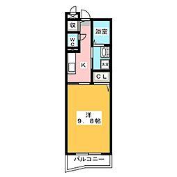 ベルハーモニー 2階1Kの間取り