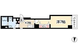 ソフィスサクラヤマ 6階1Kの間取り