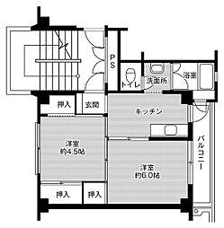 ビレッジハウス鳥居本1号棟 4階2Kの間取り