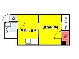 大阪府堺市堺区南旅篭町西1丁の賃貸アパートの間取り