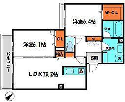 京阪本線 土居駅 徒歩3分の賃貸マンション 3階2LDKの間取り
